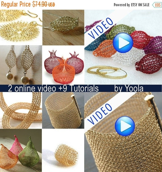 20% OFF - 2 online video TUTORIALS plus 9 wire crochet tutorials in PDF ring, Sunflowers, Hoops, Tube,  Beads, Cuff ,Drops , Pom, Pears