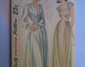 Vintage 40s Negligee Nightgown Uncut Pattern 34