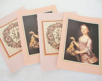 4 vintage note cards blank wreath quilt and girl portrait of mary lightfoot