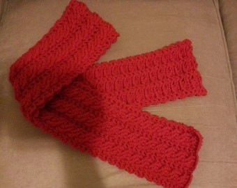 Red Valentines or christmas scarf 60 inches long 6 inches wide