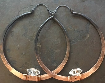 Copper Hoop Earrings Large Hoops Copper Hoop Earrings Crystal Earrings DanielleRoseBean Custom Hoop Earrings April Birthstone Jewelry