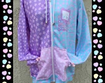 Starry Fairy Kei Pastel Sweater Kiko, Star Fairy Kei Sweater, Pastel Hoodie Jacket