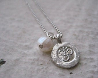 Small Sterling Silver Om Charm Necklace- Freshwater Pearl, Yoga, Meditation