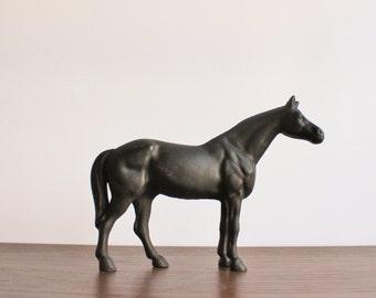 Vintage black Hubley cast metal horse