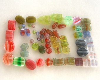 60 Assorted Glass Beads
