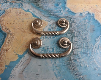 SALE! 2 silvertone metal bail pull handles with rosettes