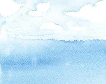 Sunny View Across the Lake - archival print of watercolor painting - 4 x 4 or 8 x 8 inches