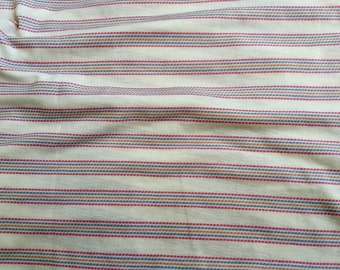 "Cotton Knit Red Blue White Striped 77"" wide fabric 1.25 yards, sewrm"