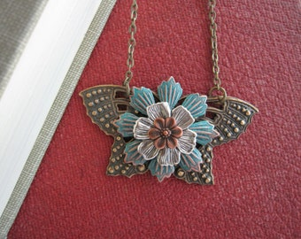 Butterfly Necklace, Moth Jewelry, Butterfly Jewelry, Large Moth, Flowers, Nature Inspired, Woodland, Butterfly Wings, Butterfly Lover, Bold