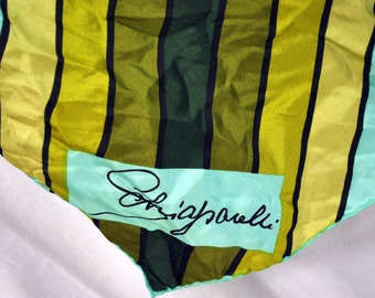 Vintage Schiaparelli Scarf  Blues Greens and Golds Silk