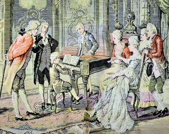 Antique Tapestry Panel of a Classic 18th Century Indoor Scene -Stamped Made in France