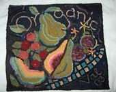 """Hand Hooked Primitive Style Rug or Wall Hanging titled """"Organic"""""""