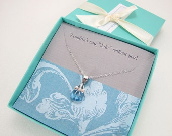Bridesmaids Jewelry, Be My Bridesmaids Cards, Blue Crystal Necklace, Bridesmaids Thank You Gift, Sterling Silver Bow Necklace