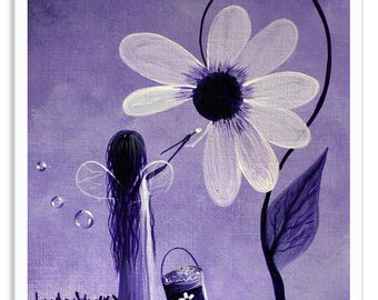 fairy art print, fairy art, purple, bright and colorful art, art, artist, fairy, fae, faery, whimsical, modern, erback, matte, art