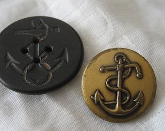 2 VINTAGE Anchor Sailor Uniform Metal & Plastic Pea Coat BUTTONS
