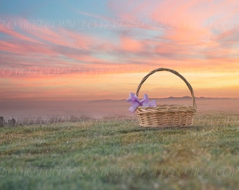 Spring/Valentine's basket and sunset background for your scrapbooking or digital photography projects
