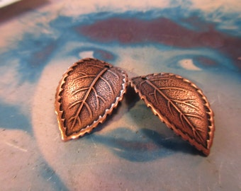 Copper Ox Plated Leaf Brass Stamping with Hole 839COP x2