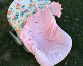 Infant Car Seat Cover, Baby Car Seat Cover in Little Pink Bundles with a baby pink minky seat cover