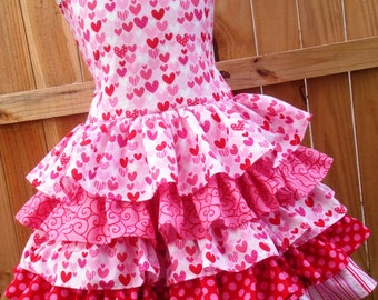 Made to Order Custom Pink Red Heart Dress Girl Sizes 2 3 4 5 6 7 8