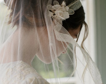 Silk tulle juliet bridal cap wedding veil -Portia no. 2121