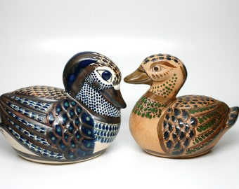 Mexican pottery - Pair of vintage Santana TONALA Hand Painted Ducks Bird -Folk Art