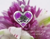 Keepsake Memorial Hearts, Made with Your Flower Petals, Personalized Jewelry, Flower Petal Jewelry, Petite Forever Heart Sterling Silver