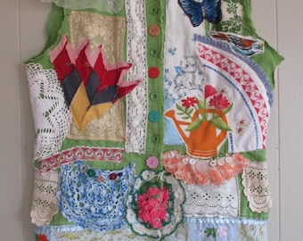 very verde + COLLAGE CLOTHING  + Green Wearable Folk Art + myBonny random scraps of fabric