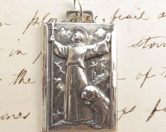 St Bernard Medal - Patron of mountain climbers and skiers- Antique Reproduction