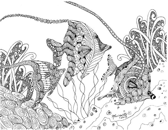 Adult coloring pages printable diy zendoodle zentangle 8 5 x for Adult fish coloring pages