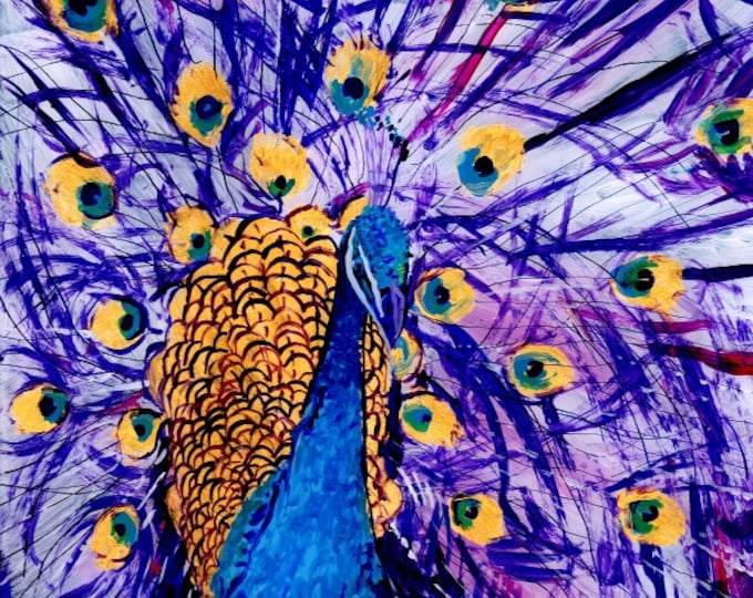 Peacock art, 8x8 art print, Tropical Bird Art, Whimscial Animal Art,  Kids Room Art, Purple Peacocks, Colorful Bird prints