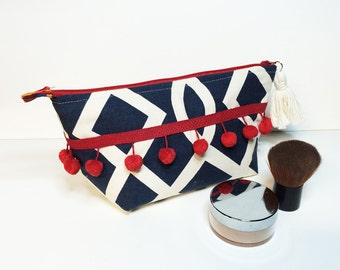 FREE SHIPPING - great gift - navy white red zipper pouch cosmetic makeup bag made from upcycled fabric
