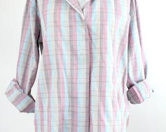 pastel plaid cotton top | vintage cotton button down shirt | casual checked shirt | S-M