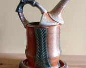 Green Carved Ewer