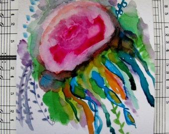 The Jellyfish Floral - Mini Print, Original Art, Project Life, Planners