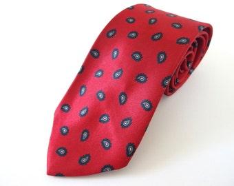 Vintage 1980's Tie - Red Paisley Tie, John Henry Tie