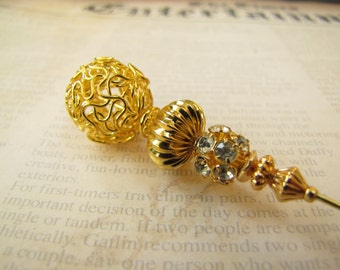8 Inches Gold Hatpin, Gold Plated Stick Pin