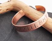 Copper Roman Numeral Date Cuff - Minimalist Modern - 7 Year Anniversary Gift