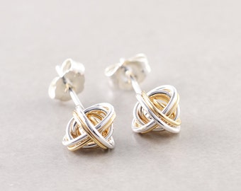 Gold Silver Knot Studs, Two Tone Earrings, Knotted Jewelry, Love Knots, Bridesmaid Gift