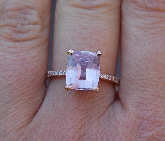 3.16ct Cushion raspberry peach sapphire 14k rose gold diamond ring engagement ring