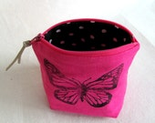Coin Pouch // Jellybean Coin Pouch // Butterfly // Linen Coin Pouch // Bright Pink