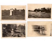 Eight Antique Photographs Men and Women and Boats Snapshots Great for Altered Art Projects