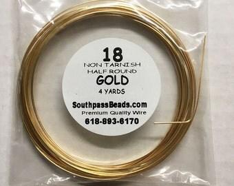 18 gauge Non Tarnish Gold Half Round Craft Wire 4 yards Made in USA
