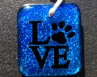 Love - Dichroic Glass Pendant- Permanent ( Drilled ) Sterling Silver Setting & Chain .925