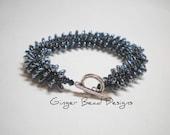 Black Metallic Drop Bead Russian Spiral Bracelet