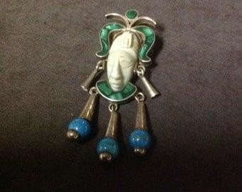 Aztec Mask Mayan Brooch Pendant Combo Taxco OAC TC-60 Malachite Turquoise 925