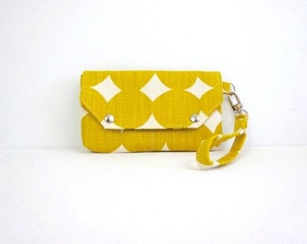Yellow Dot wristlet /  Wallet / Organizer / Clutch