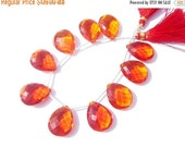55% OFF SALE 8 Inches -  Finest Quality AAA Fanta Orange Quartz Faceted Pear Briolettes Size 21x16mm approx Beautiful Brios Wholesale Price