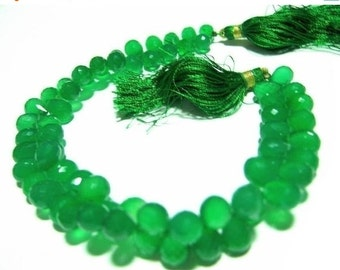 55% OFF SALE 1/2 Strand - Finest Quality Green Onyx Micro Faceted Drop Briolettes Size 8x6 - 10x7mm approx