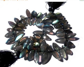 55% OFF SALE 1/2 Strand  - Blue Flashy Genuine Labradorite Smooth Marquise Briolettes Size 6x12 - 7x15mm approx