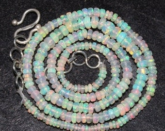 """55% OFF SALE 16"""" 28.50 cts 3x5 MM Natural Multi Color Play Ethiopian Welo Fire Opal Smooth Rondelle Beads Necklace Opb128"""